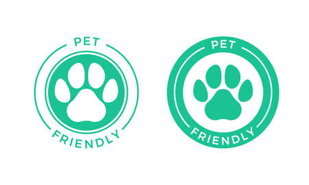 Pet friendly logo icon for Pets allowed hotel sign. Vector animal welcome stamp Illustration