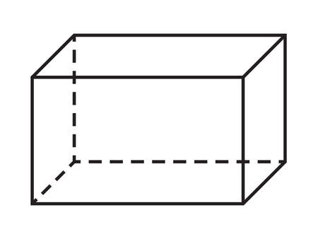 Parallelepiped shape. Vector geometry figure for school lesson