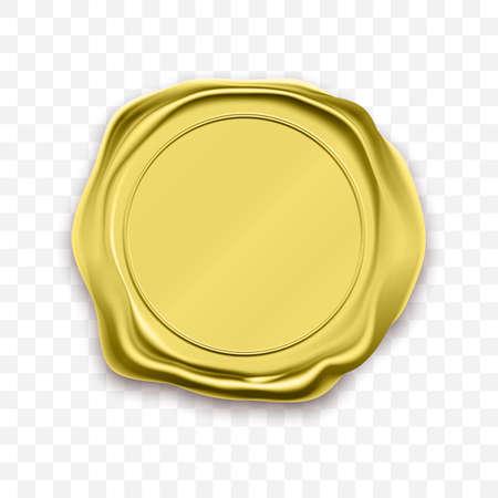 Vector de aprobación de sello de cera de sello de oro. Etiqueta de garantía de calidad