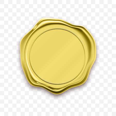 Vettore di approvazione del sigillo di cera timbro oro. Etichetta di garanzia di qualità
