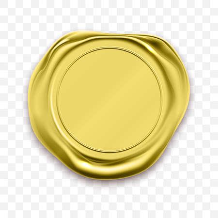 Vecteur d'approbation de cachet de cire de timbre d'or. Label de garantie de qualité Vecteurs