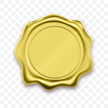 Gold stamp wax seal approval vector. Quality garantee label Vector Illustration