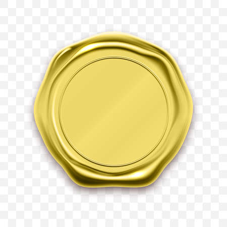 Gold stamp wax seal approval vector. Quality garantee label Vettoriali