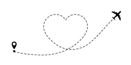 Amo l'itinerario di viaggio. Icona di vettore del percorso di linea dell'aeroplano della rotta di volo dell'aereo con punto di partenza e traccia della linea tratteggiata Vettoriali