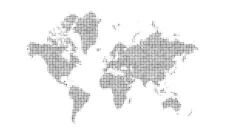 Dotted world map background. Halftone earth map design