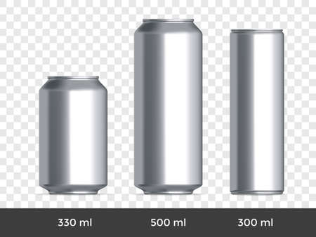 3D can mockup. Vector aluminium beer and slim soda can blank template on transparent background