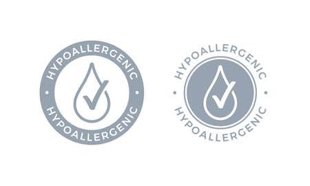 Hypoallergenes getestetes Logo-Symbol. Vektor-Drop-Symbol des hypoallergenen Verpackungsetiketts oder des Dermatologie-Testetiketts für empfindliche Haut von kosmetischen Kinderlotionen oder Hautpflege- und Körperpflegeprodukten Logo