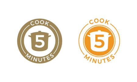 Icône de cuisson 5 minutes pour le temps de cuisson des céréales et des pâtes sur l'emballage alimentaire Casserole de vecteur et conception de modèle de 5 minutes