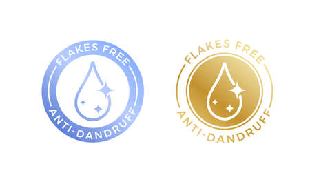 Anti-dandruff flakes free logo icon for shampoo. Vector hair oil dandruff design. Illustration
