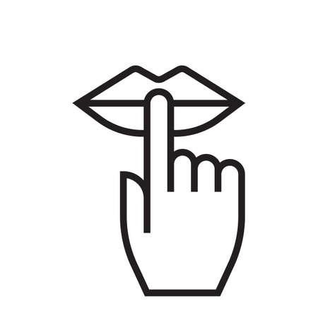 Houd stilte en wees stil lippen en vinger stil teken, geen ruis vectorpictogram