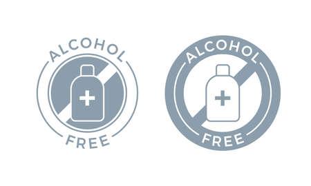 Icona senza alcool per prodotto cosmetico. Simbolo senza alcool medico vettoriale per la cura del corpo e della pelle Vettoriali