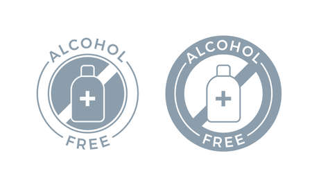 Alcohol free icon for cosmetic product. Vector body and skin care medical alcohol free symbol