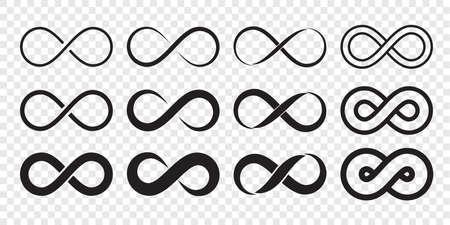 Icona del logo del ciclo infinito. Vector infinito illimitato, segno di forma di linea infinita Logo