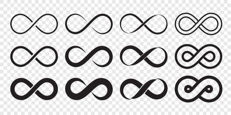 Infinity-Schleife-Logo-Symbol. Vektor unbegrenzte Unendlichkeit, endloses Linienformzeichen Logo