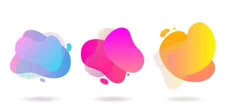 Forma líquida abstracta de color, patrones de semitonos, fondo degradado de superposición de color fluido. Vector creativo diseño de formas de salpicaduras de color neón