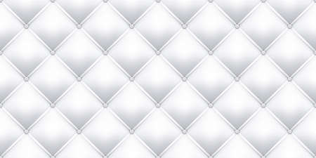 White leather upholstery texture pattern background. Vector seamless vintage royal sofa leather upholstery with buttons pattern Illustration