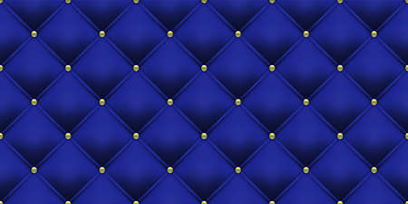 Royal blue background with gold buttons pattern. Vector leather or velvet vintage luxury upholstery with golden buttons seamless pattern background Illustration