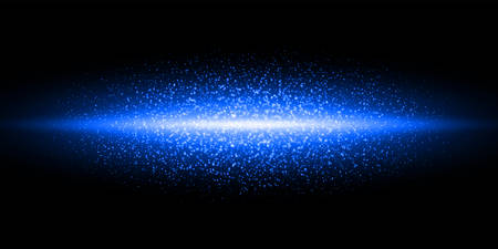 Blue neon light flash, glitter dust particles burst background. Vector blue shimmer flares glow, magic glittering sparkles on black galaxy