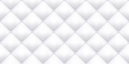 White leather upholstery texture pattern background. Vector vintage royal sofa leather upholstery buttons seamless pattern