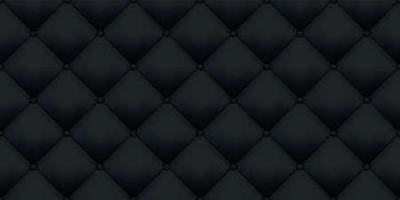 Tapicería de cuero negro de lujo vintage textura de fondo. Tapicería de cuero de sofá real de vector con patrones sin fisuras de botones Ilustración de vector