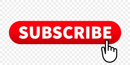Subscribe web site vector red button with hand finger click pointer Illustration