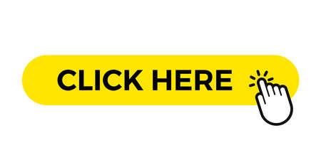 Cliquez ici modèle de bouton web vectoriel, barre jaune avec curseur de clic du doigt de la main Vecteurs