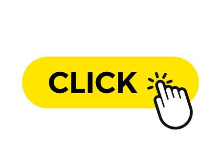 Click bar and finger vector web button icon template