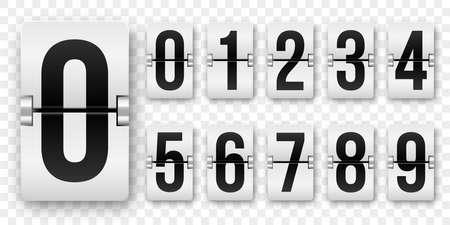 Les numéros de compte à rebours retournent le compteur Vector isolé à 9 horloge flip style rétro ou nombres mécaniques de tableau de bord mis en noir sur blanc