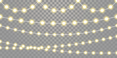 Christmas lights isolated garland lamps strings set on transparent background