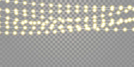 Christmas lights isolated strings set. Vector Xmas, birthday or festival holiday celebration lamp lights