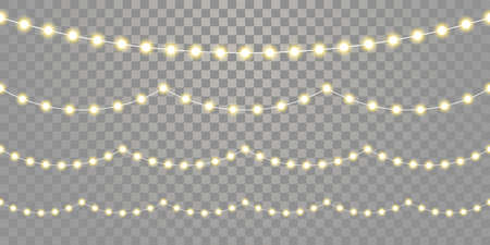 Christmas lights seamless vector isolated on transparent background. Vector Xmas, birthday or holiday festival celebration lamp lights Illustration