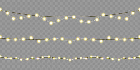 Christmas lights seamless design. Vector isolated Xmas, birthday or festival celebration lamp lights on transparent background for greeting card template