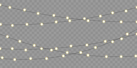 Christmas lights vector isolated element for holiday celebration greeting card. Xmas, birthday or festival celebration lamp lights on transparent background