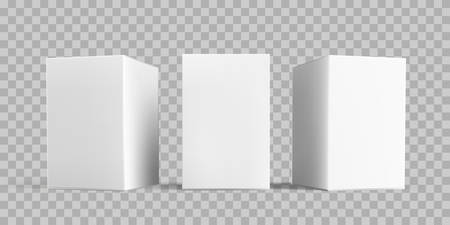 White box package mock-up set. Vector isolated 3D white carton cardboard or paper package boxes models templates on transparent background Illustration