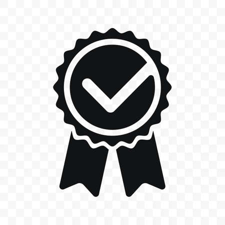 Quality check ribbon icon. Vector product certified or best choice recommended award and warranty check approved certificate mark label
