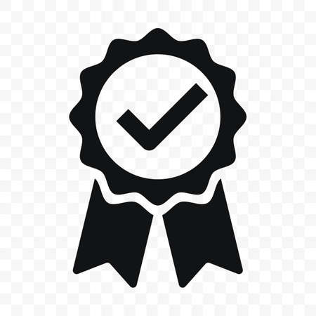 Quality icon, certified check mark ribbon label. Vector premium product certified or best choice recommended award and warranty approved certificate stamp Vettoriali