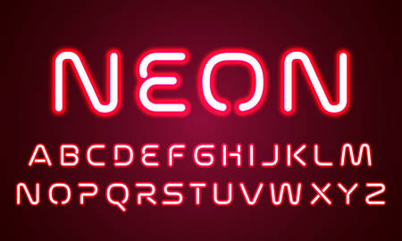 Neon light alphabet font letters. Vector red ultraviolet neon glow effect of font alphabet, red led light tube lamps