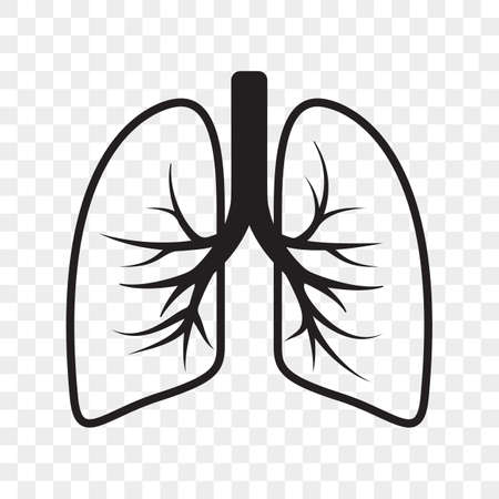 Lungs vector outline icon. Cold cough and bronchitis lung disease treatment Illustration