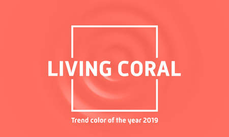 Living coral trend color of the year 2019. Abstract pink wave splash liquid fluid living coral color vector background