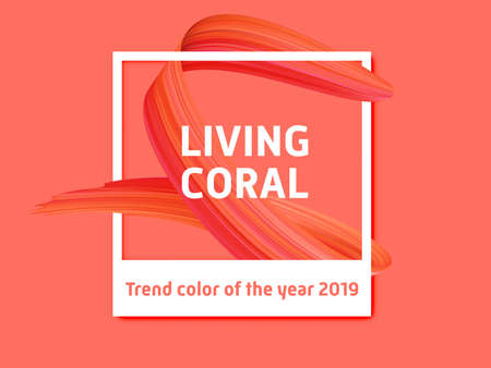 Living coral vector background, photo frame trend color of the year 2019. Pink color paint brush stroke on trendy living coral background