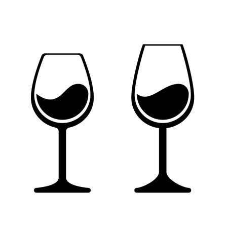 Wine glass vector icons. Isolated wineglass silhouette, alcohol beverage sign Stock Vector - 121672574