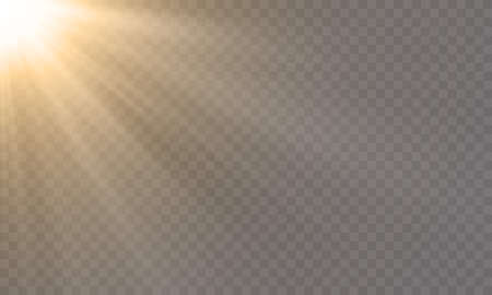 White glowing light explode effect and sun rays shine on vector transparent background