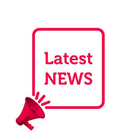 Latest news vector icon. News megaphone speaker in frame
