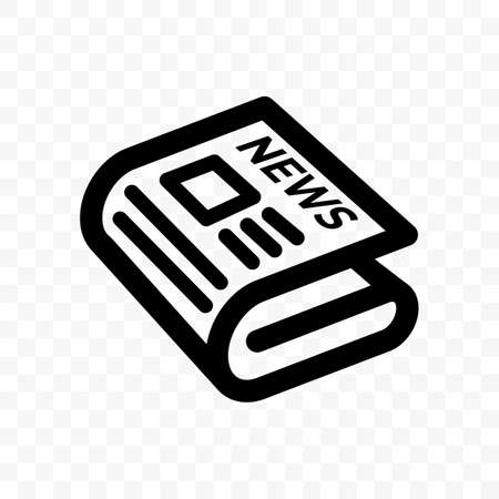 Newspaper news vector line icon. Linear newspaper app and website symbol