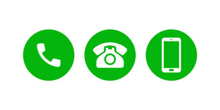 Mobile phone call vector icons. Support contact phone call web icon