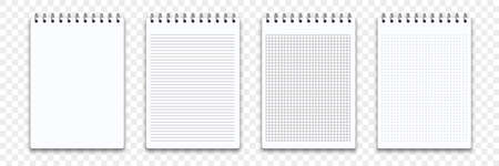 Notebook memo notepad templates. Vector note pad or diary line and square paper page with binder Illustration