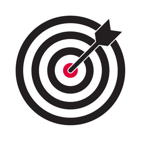 Icône de vecteur cible et flèche. Cible de fléchettes et symbole de cible d'objectif commercial Vecteurs