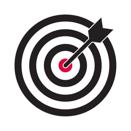 Icona di vettore di destinazione e freccia. Bersaglio delle freccette e simbolo dell'obiettivo dell'obiettivo aziendale Vettoriali