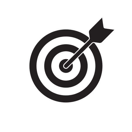 Target and arrow vector icon. Dartboard shoot, business aim and target focus symbol Çizim