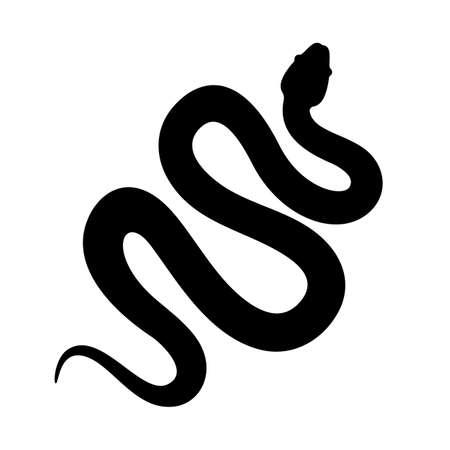 Schlangenkobra oder Anakonda-Silhouette-Vektor-Symbol. Lange Schlange kriecht